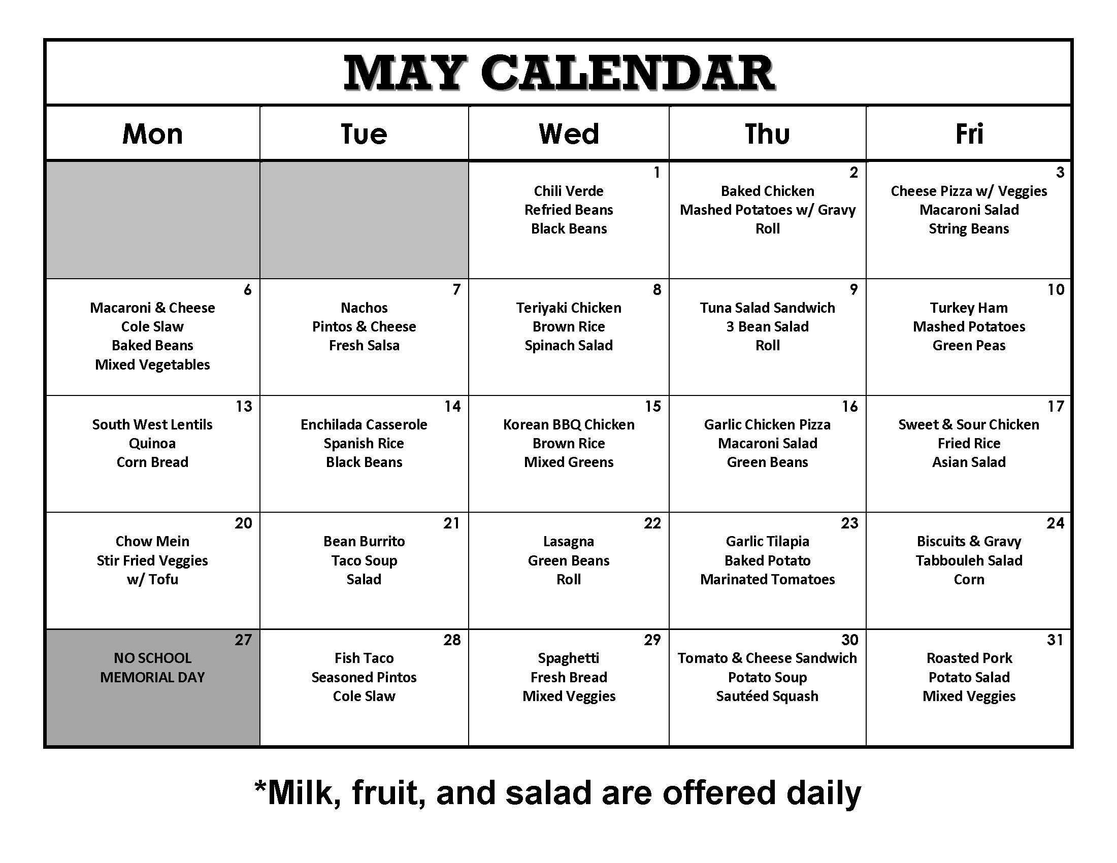 May 2019 Lunch Calendar
