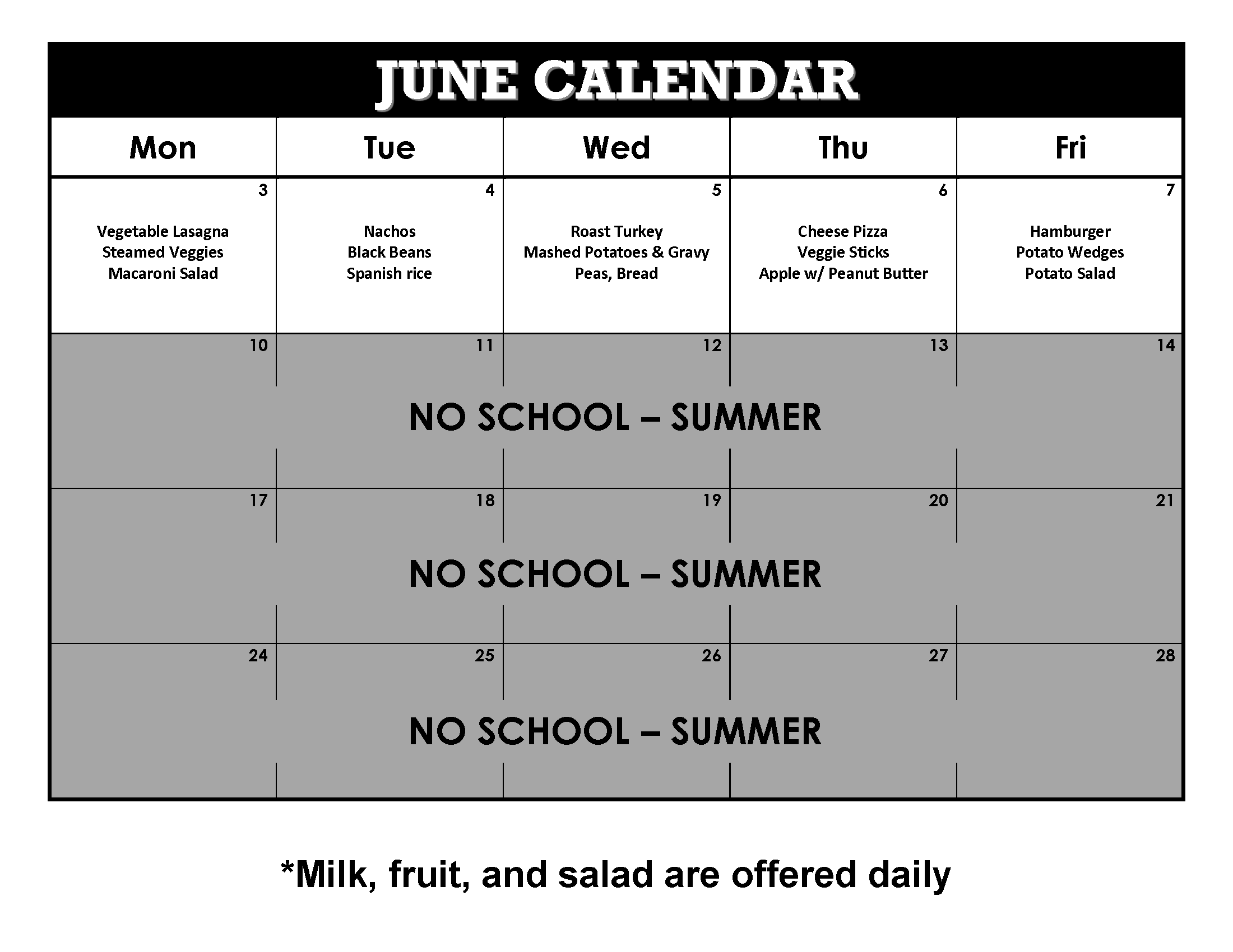 June 2019 Lunch Calendar
