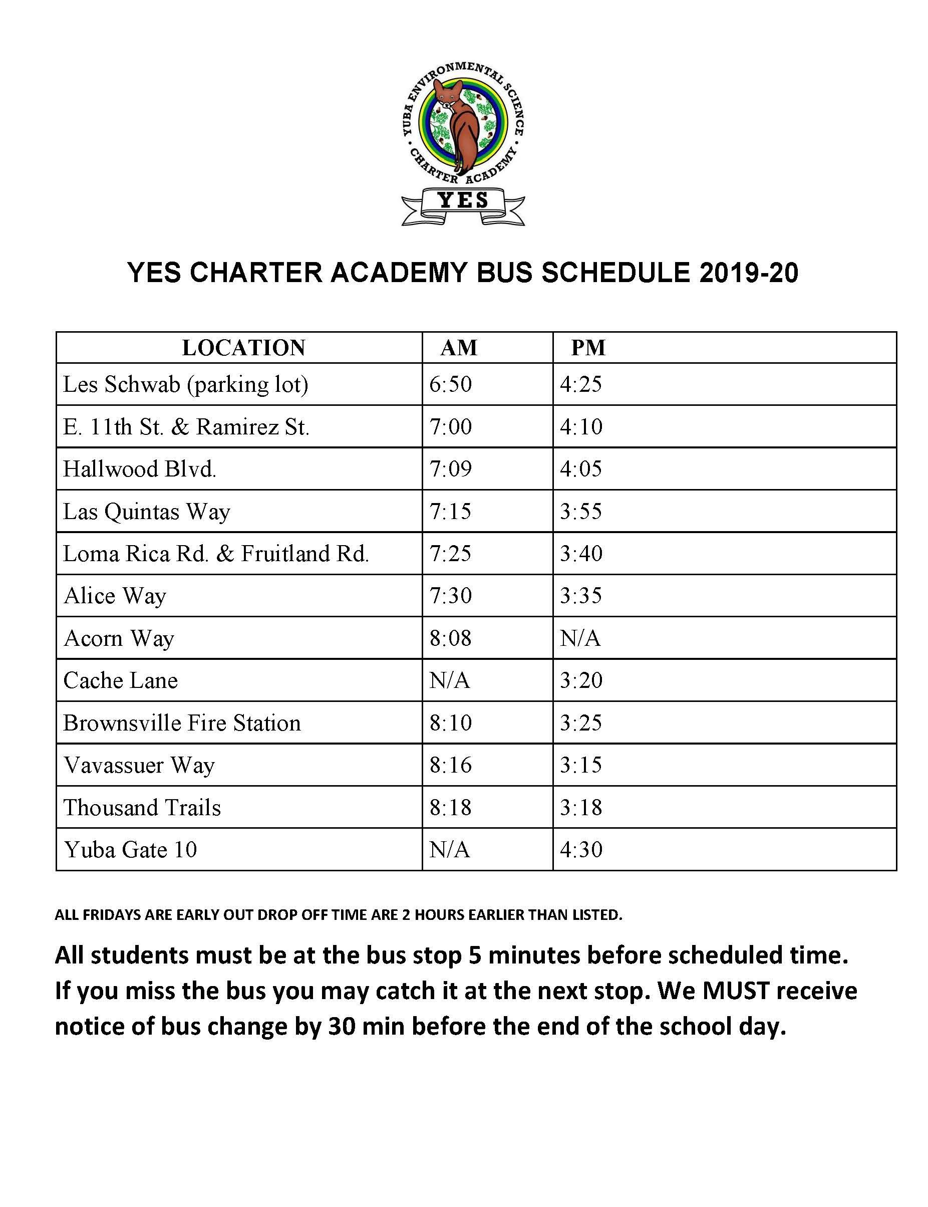 2019/2020 Transportation Schedule